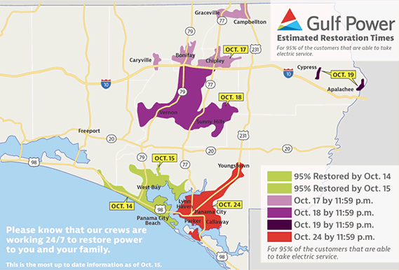 Gulf Power Restoration Estimation Map