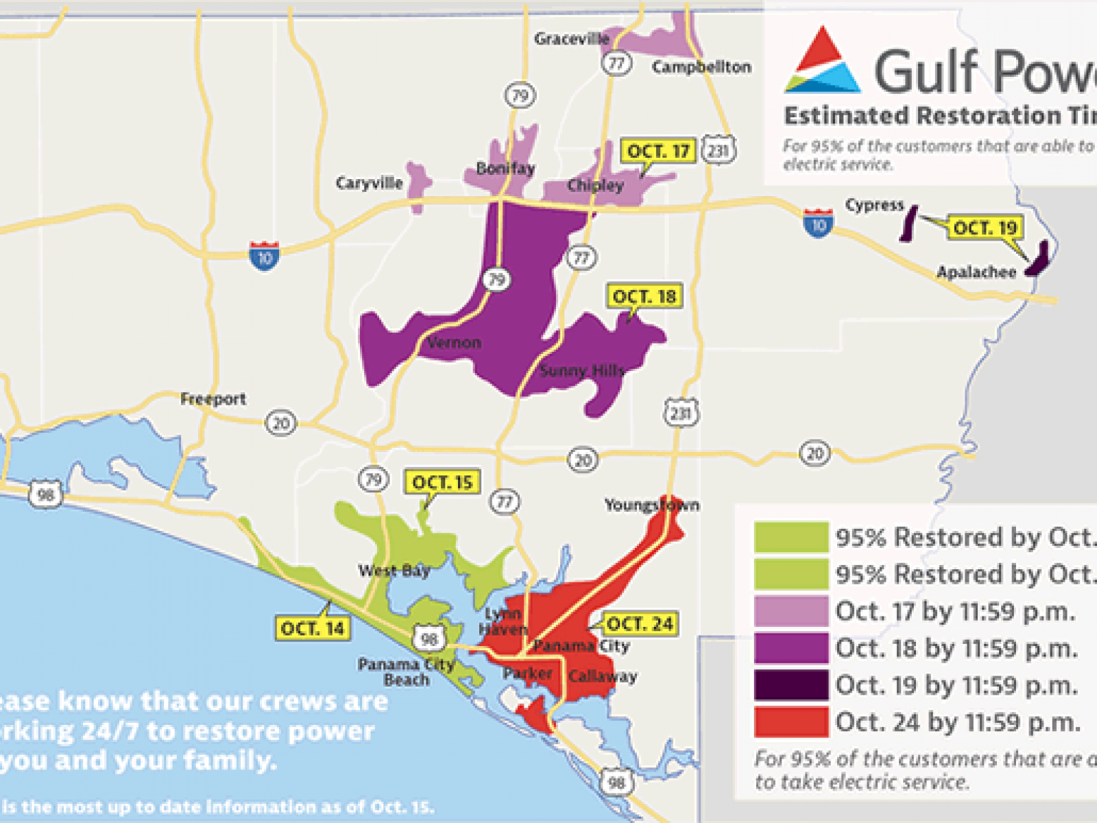 Panama City Electric Power Outage Update, Map (Gulf Power ...