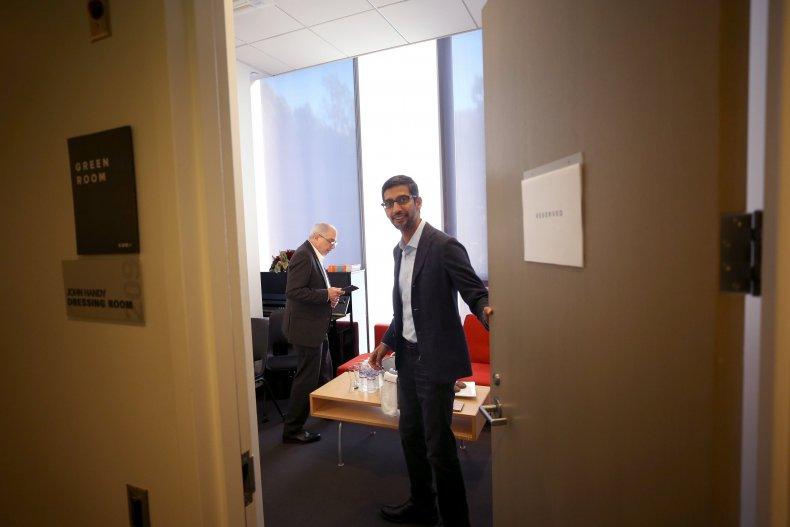 Steven Levy (L) and Sundar Pichai