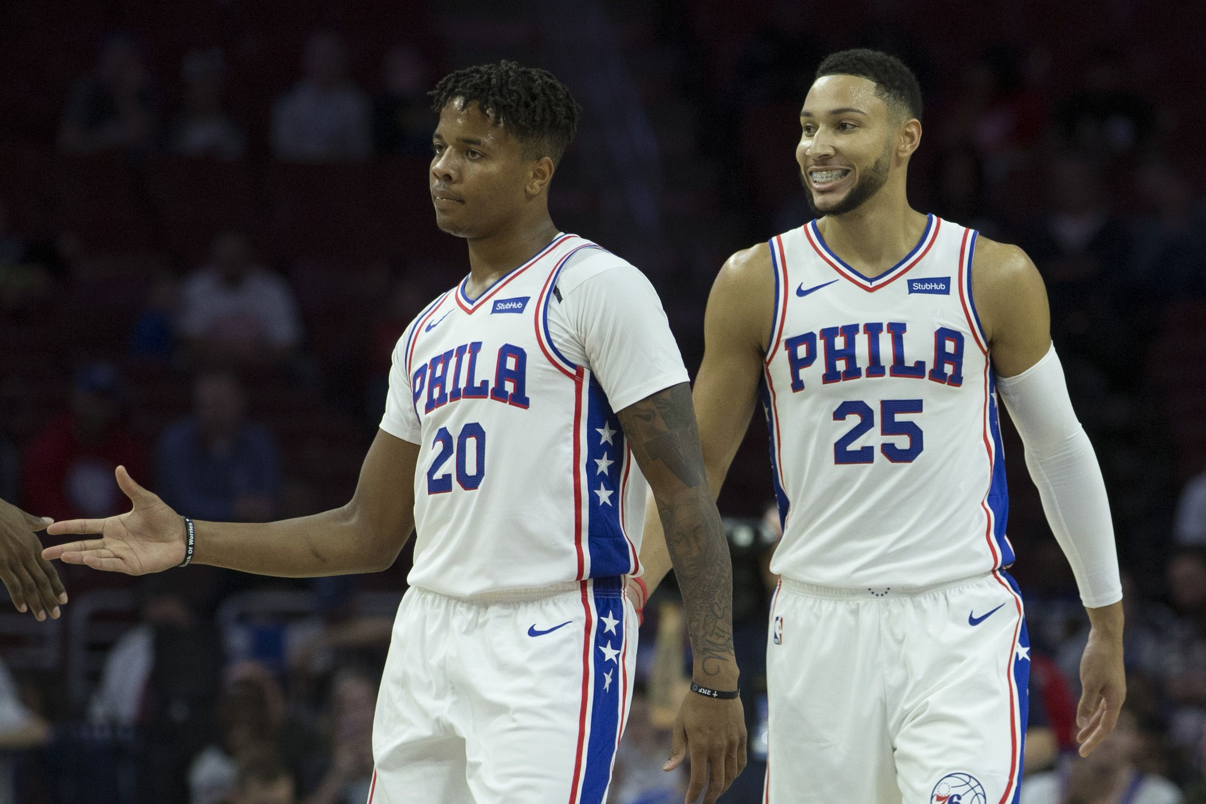69f5ebacd7ec Markelle Fultz (left) and Ben Simmons (right) of the Philadelphia 76ers are  pictured in a preseason game at Wells Fargo Center on September 28