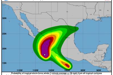 hurricane willa forecast, path, mexico coast