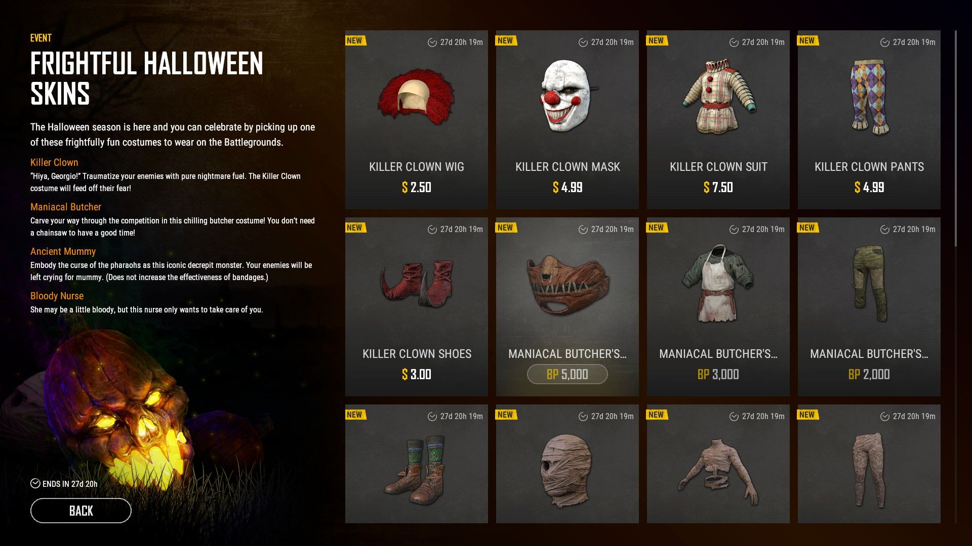 PUBG Halloween skins 1