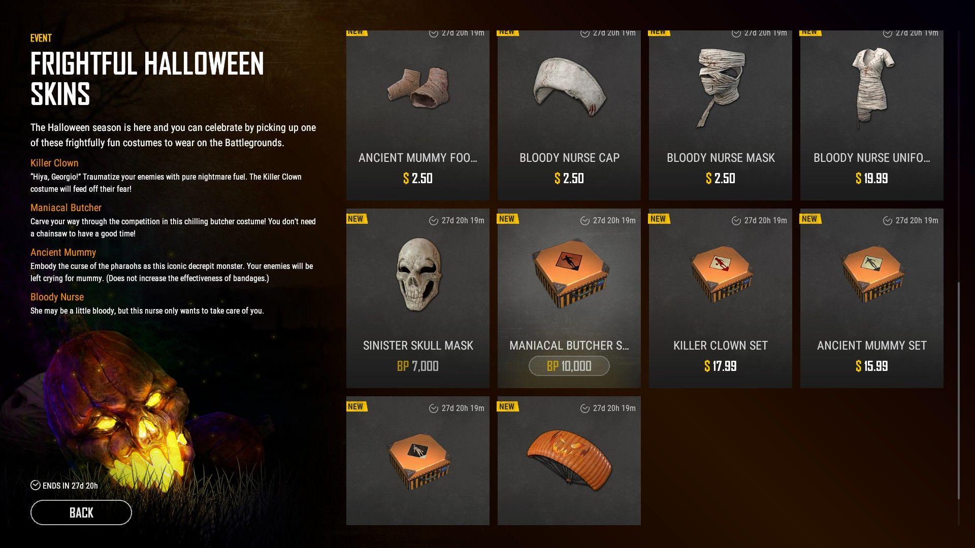 PUBG Halloween skins 2