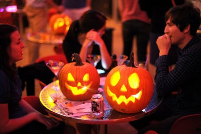 jack o lantern on table