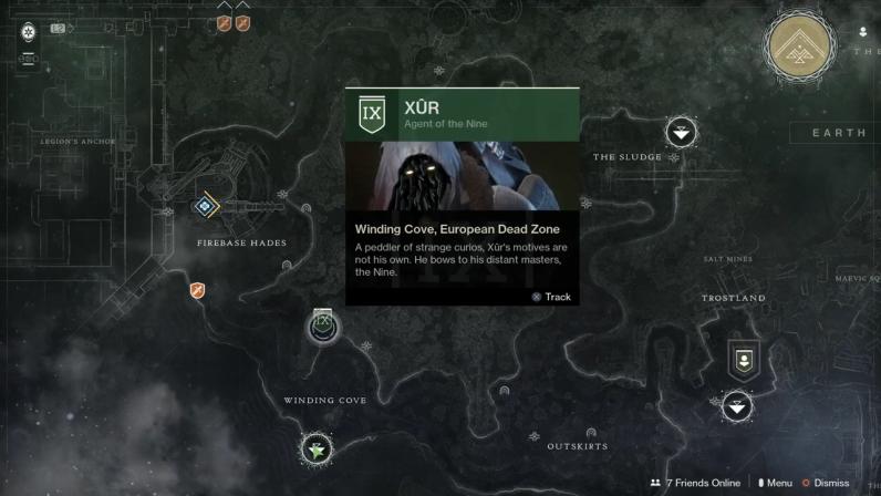 Destiny 2 Xur location 10-26