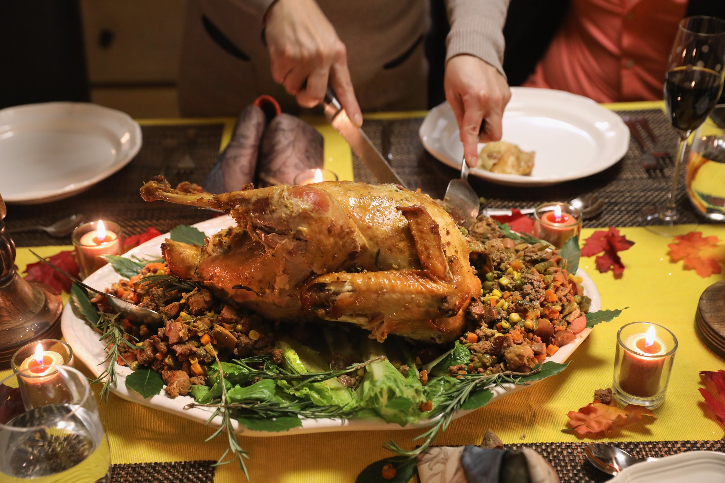 thanksgiving turkey dinner table