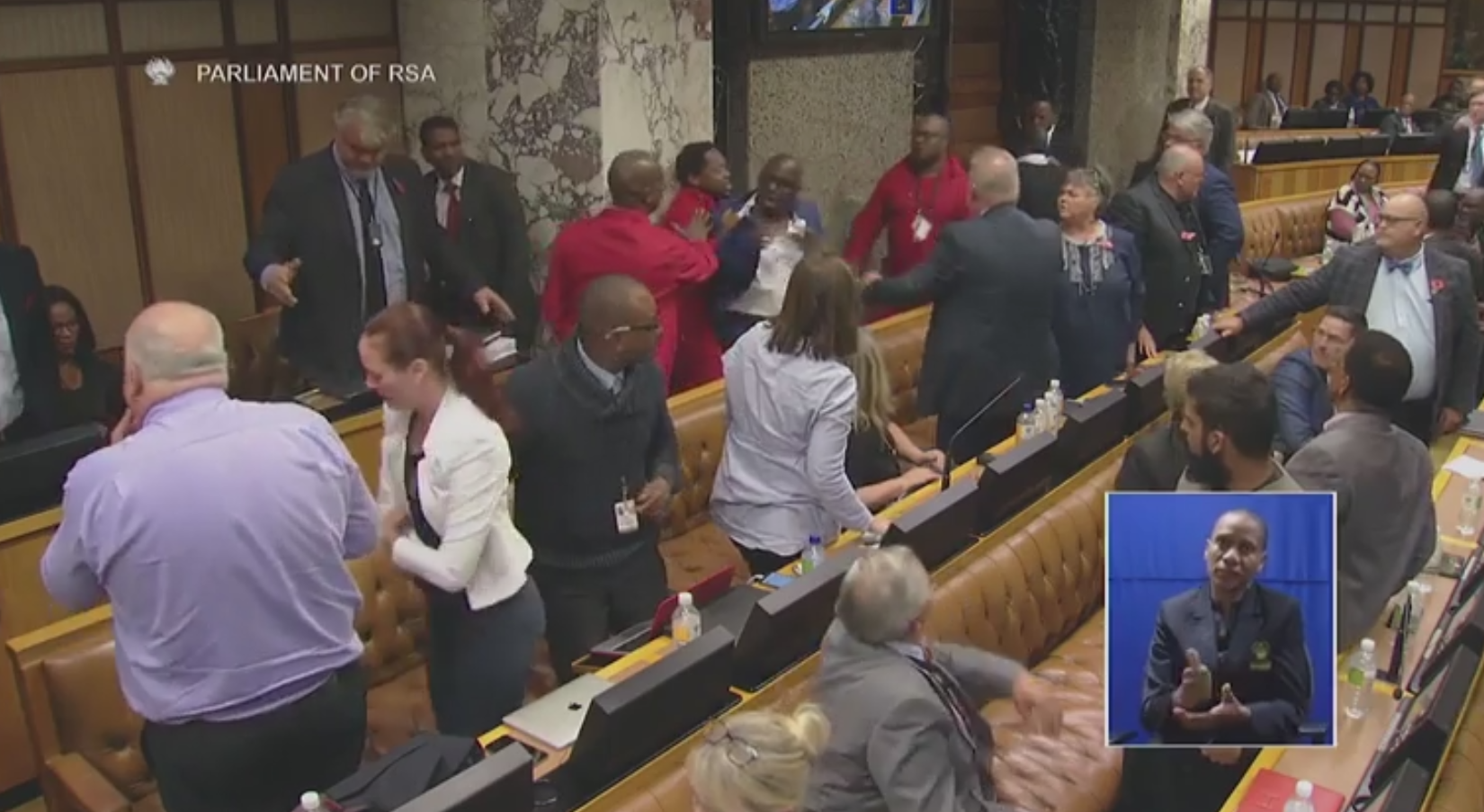 Watch: Fight erupts in South African parliament after black lawmaker calls white colleague racist