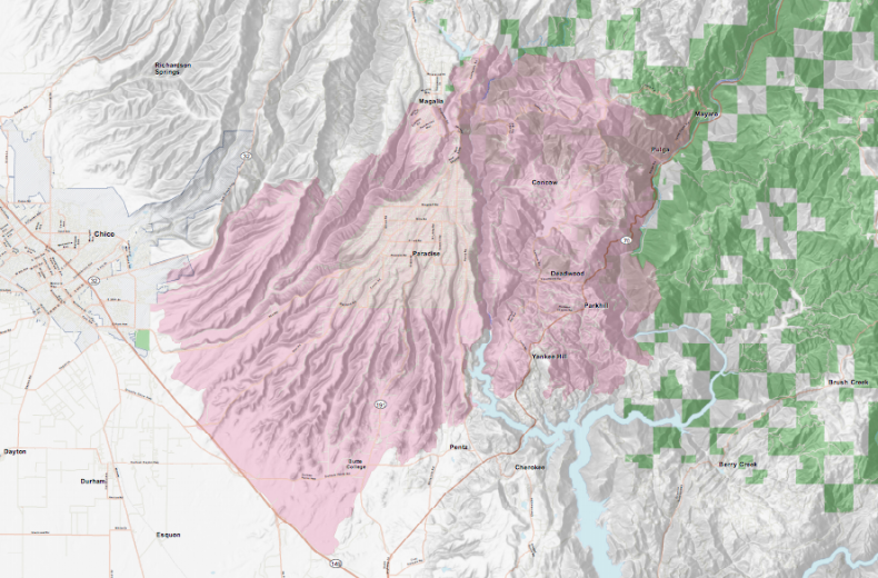 wildfire map cal fire camp fire