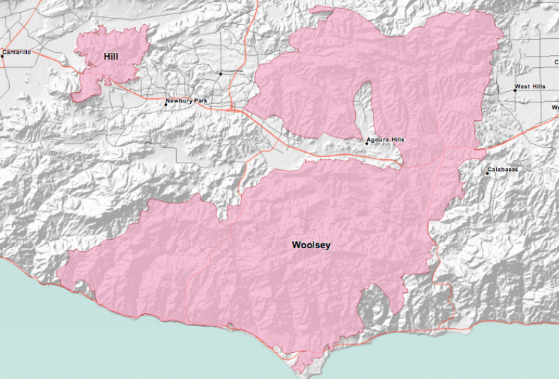 wildfire map, woolsey fire hill fire