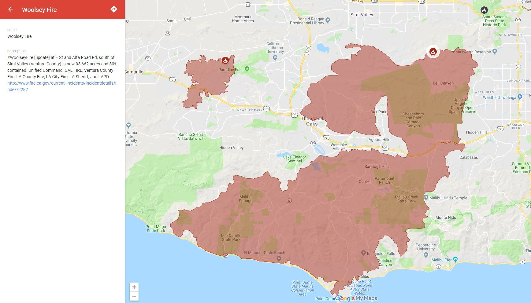 Map Of California Malibu.Woolsey Fire Map Latest Update Shows Over Two Thirds Of Extreme