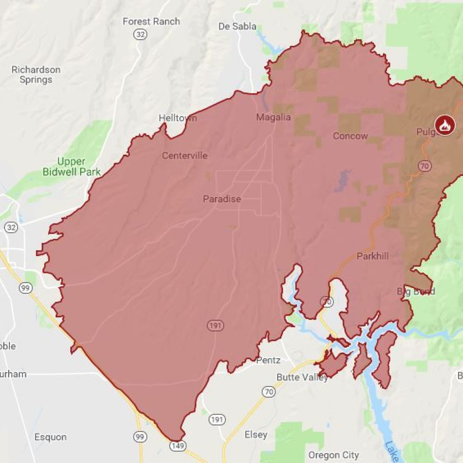 Paradise California Map.California Wildfire Location Maps Update Malibu Paradise Homes