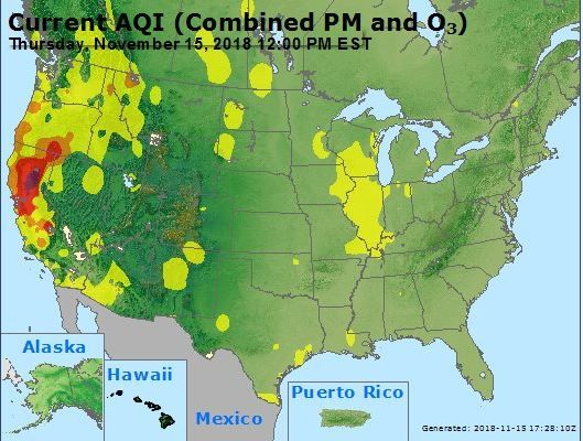 California Wildfire Smoke Map Health Concerns With Air Quality Levels
