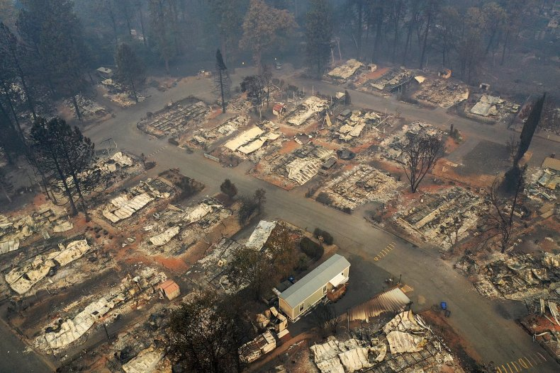 paradise california after camp fire aerial