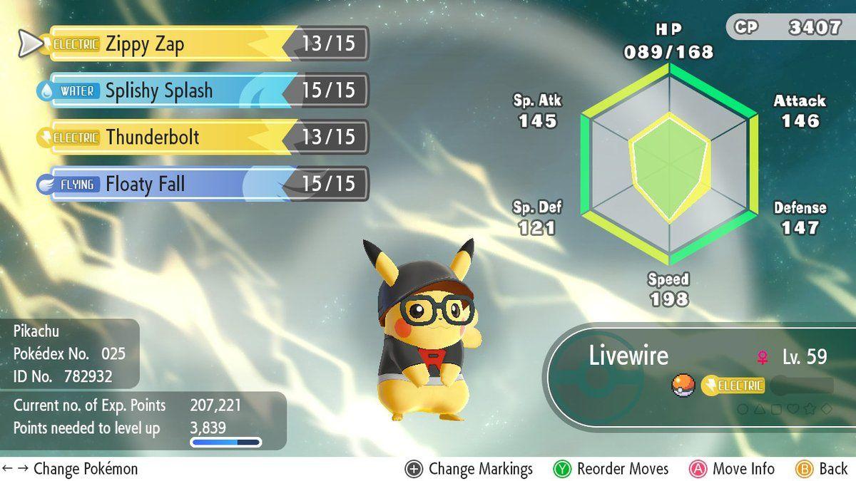 pikachu evs pokemon lets go