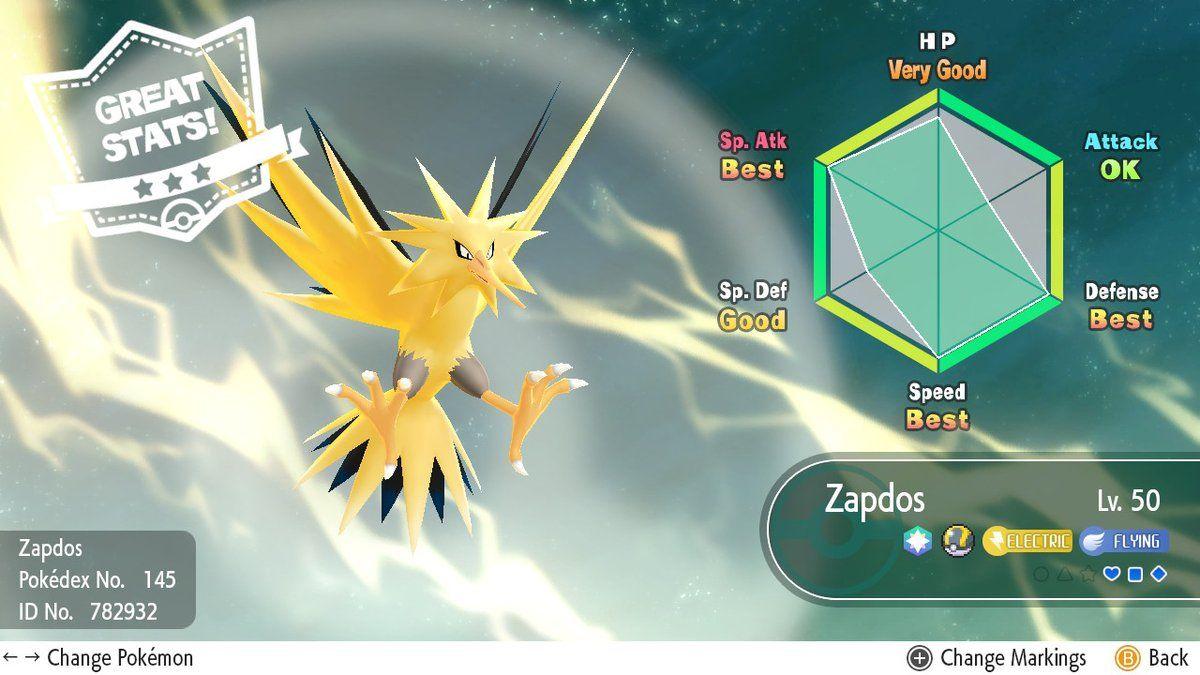 Zapdos Pokemon Lets Go Stats
