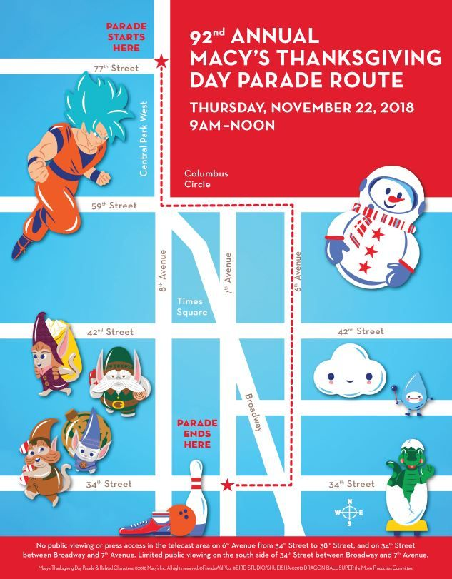Cartoon Map Of New York City.Macy S Thanksgiving Day Parade Time 2018 New York City Route Map