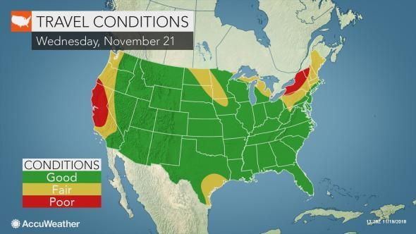 Accuweather Map Travel Conditions for Thanksgiving week 2018