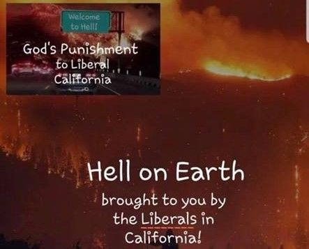 "Ohio County GOP Chairman Defends Deleted Image Saying Wildfires Were ""God's punishment to Liberal California"""