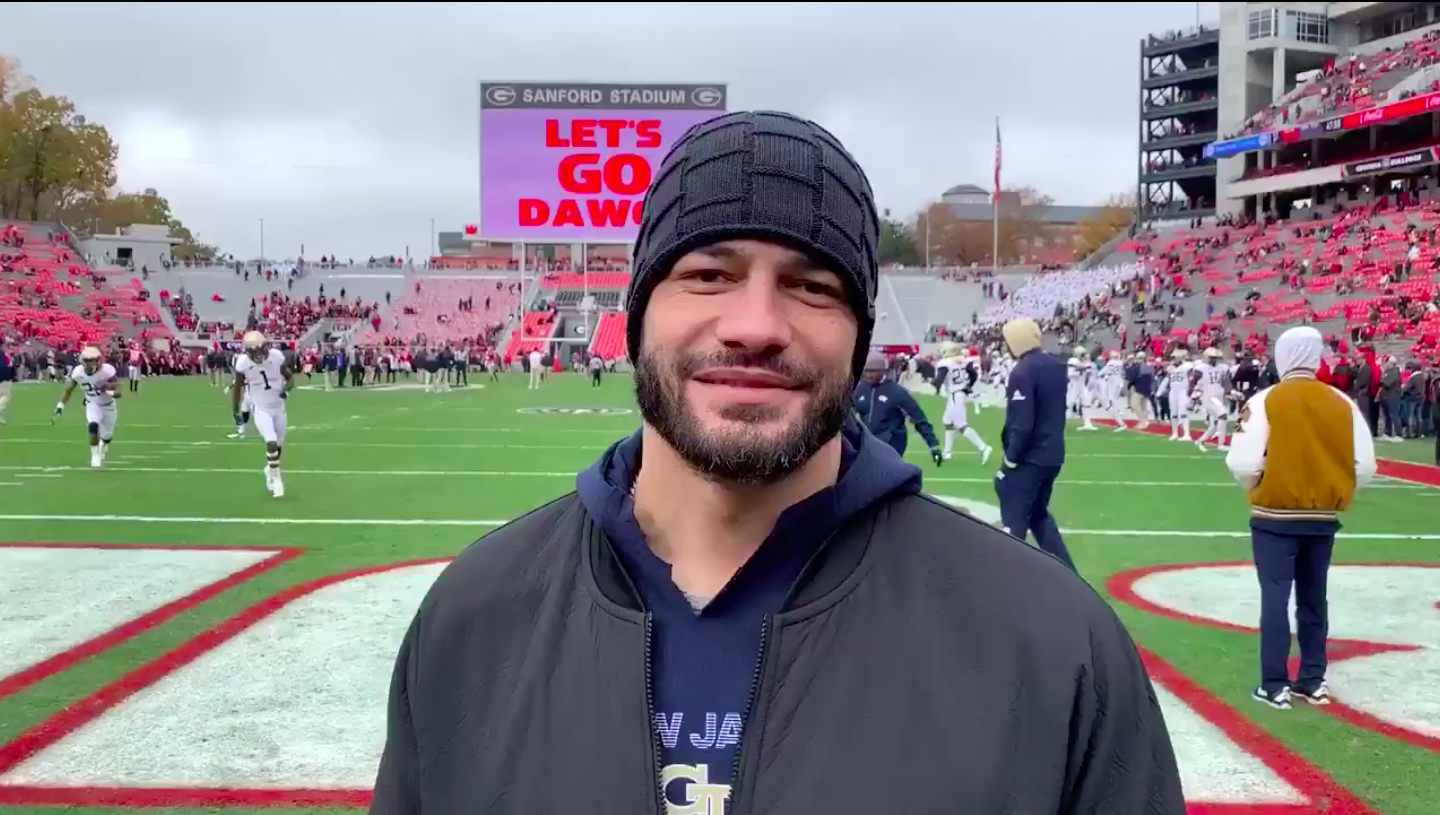 WATCH: Roman Reigns Makes First Public Appearance Since Leukemia Announcement, Returns to Georgia Tech thumbnail