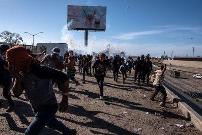 donald trump, fact-checked, border, tear gas, migrants