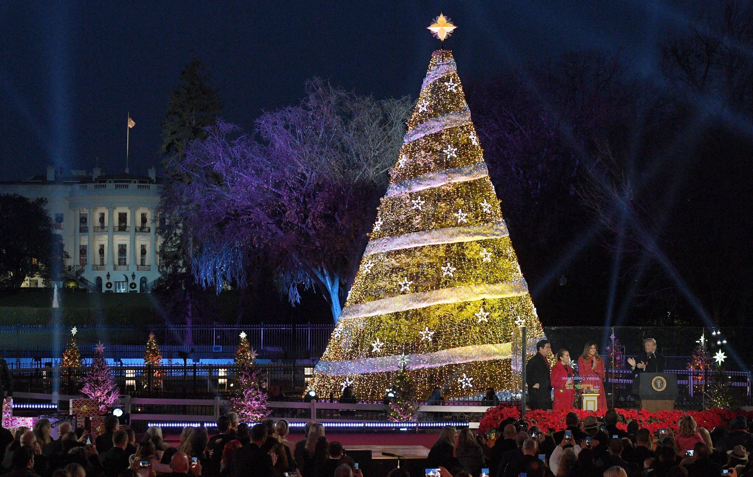 national christmas tree lighting washington dc trump