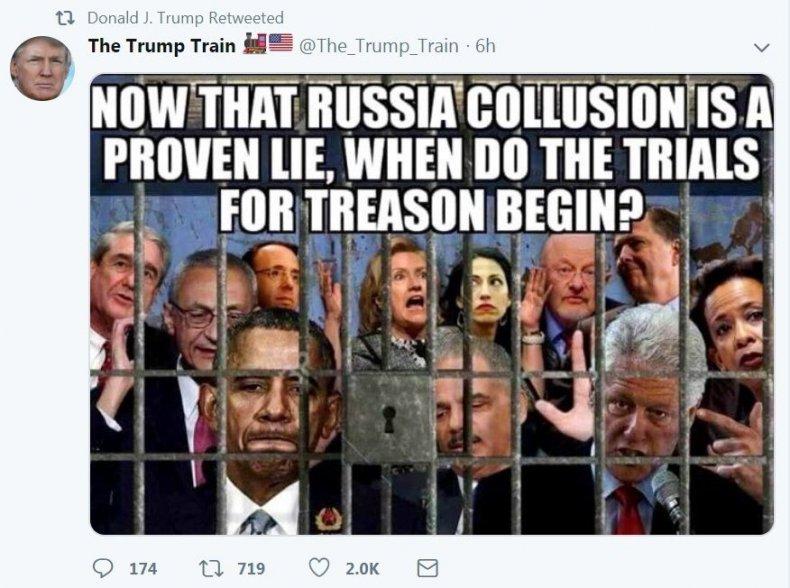 Trump treason Twitter retweet