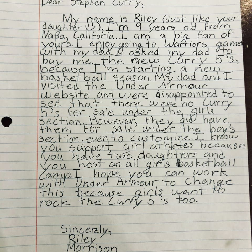 """5ff862345dee Nine-year-old Riley Morrison was encouraged to write to Stephen Curry by  her dad. Courtesy. """""""