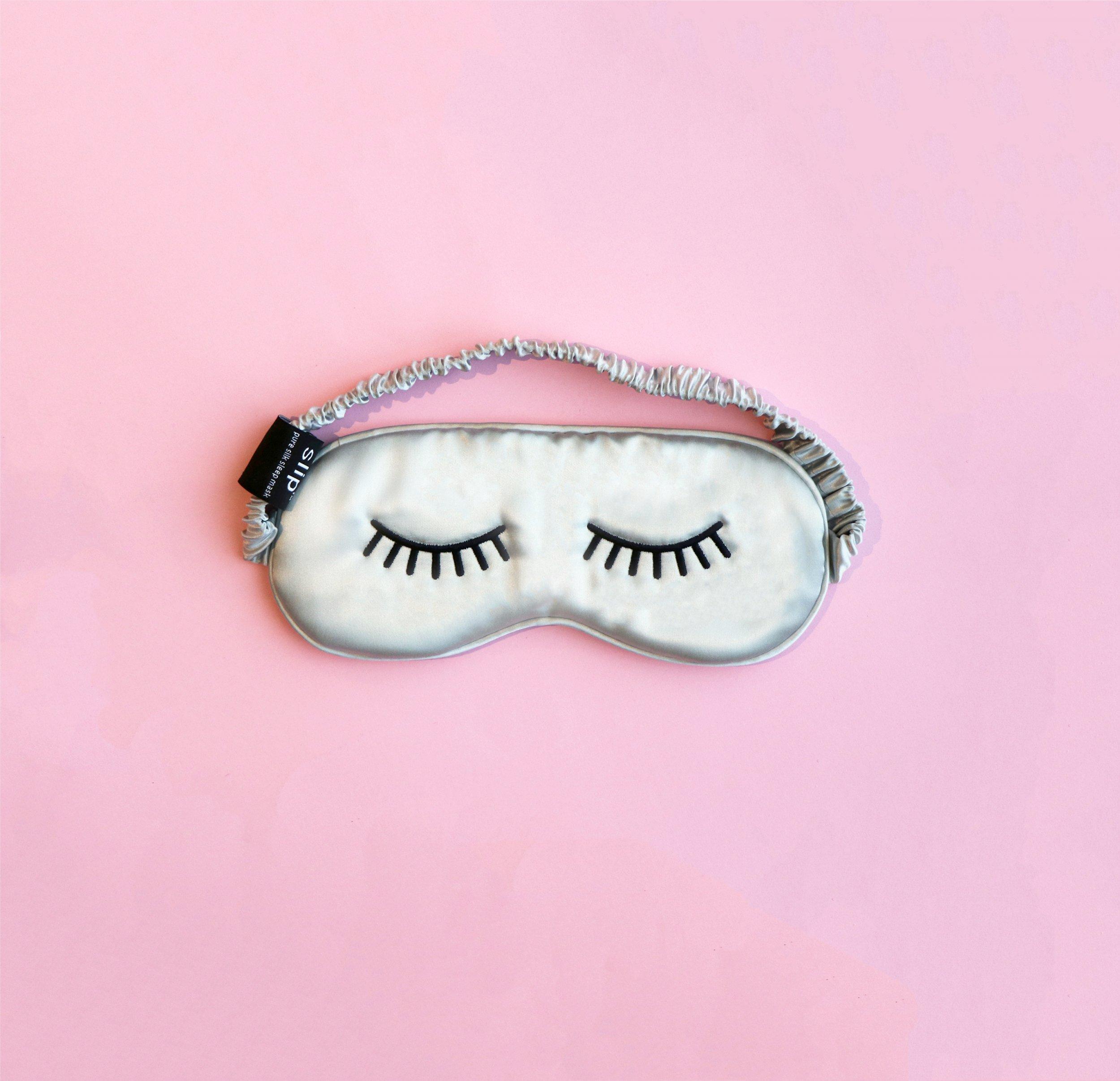 Slip Lashes Sleep Mask on Pink Background