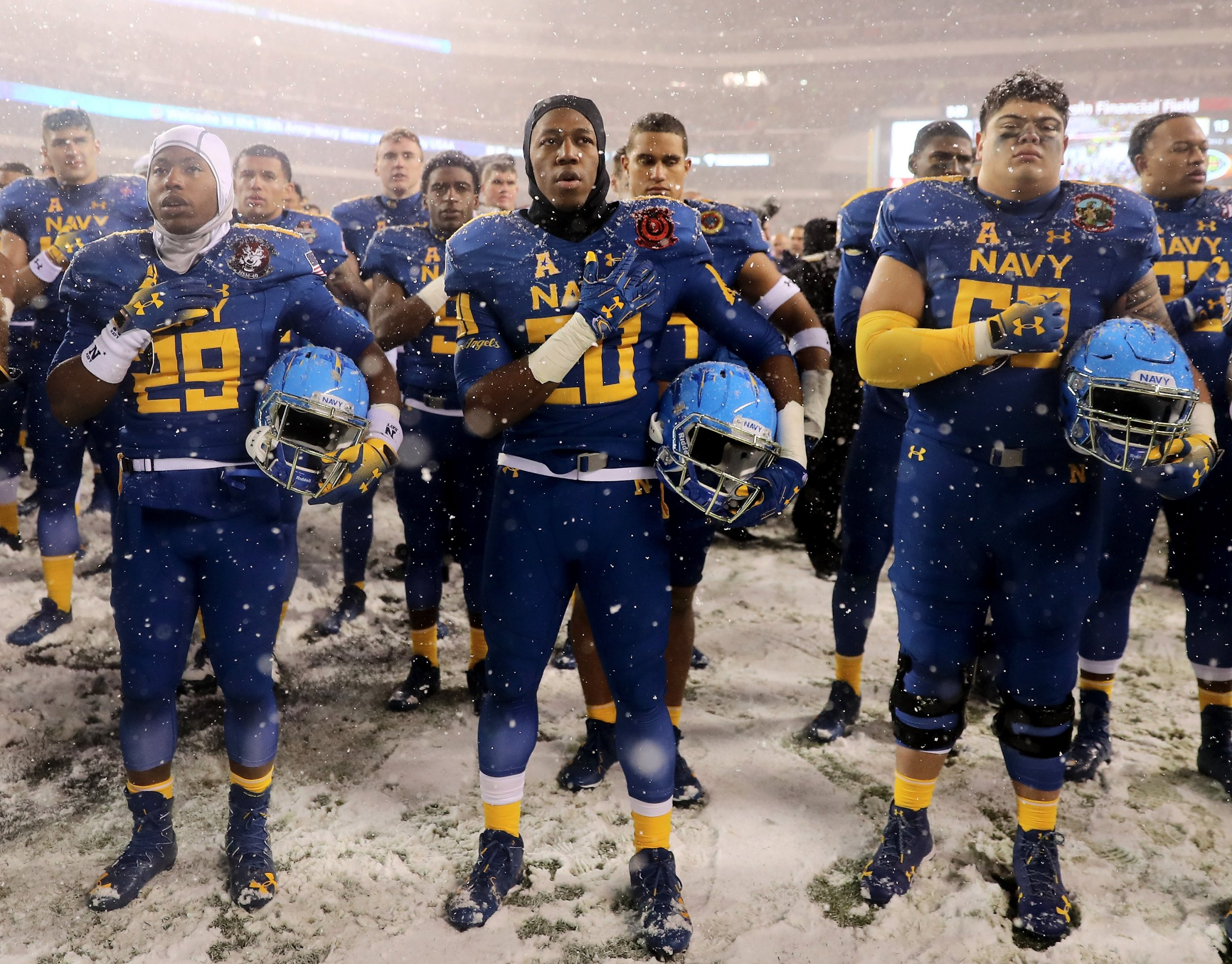The Navy Midshipmen are pictured after the loss to the Army Black Knights  on December 9 bc66e9860