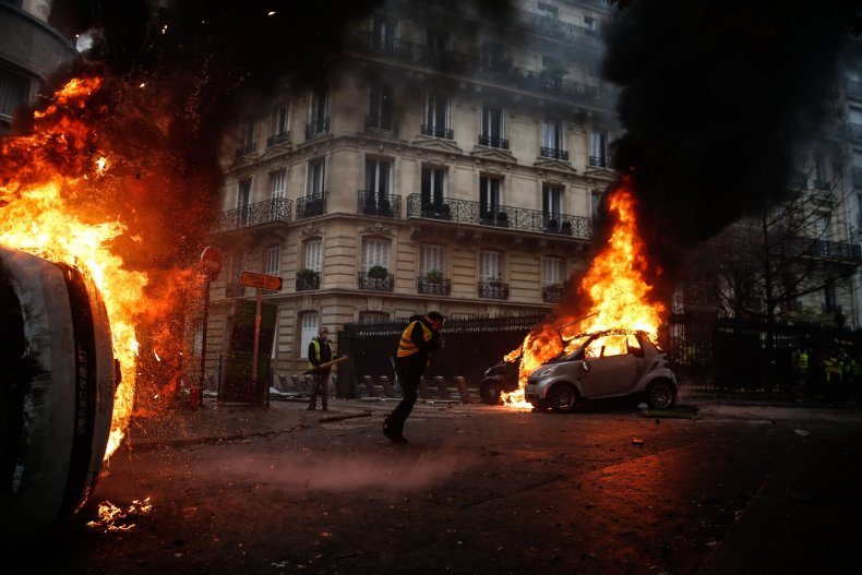 paris riots emmanuel macron yellow jackets