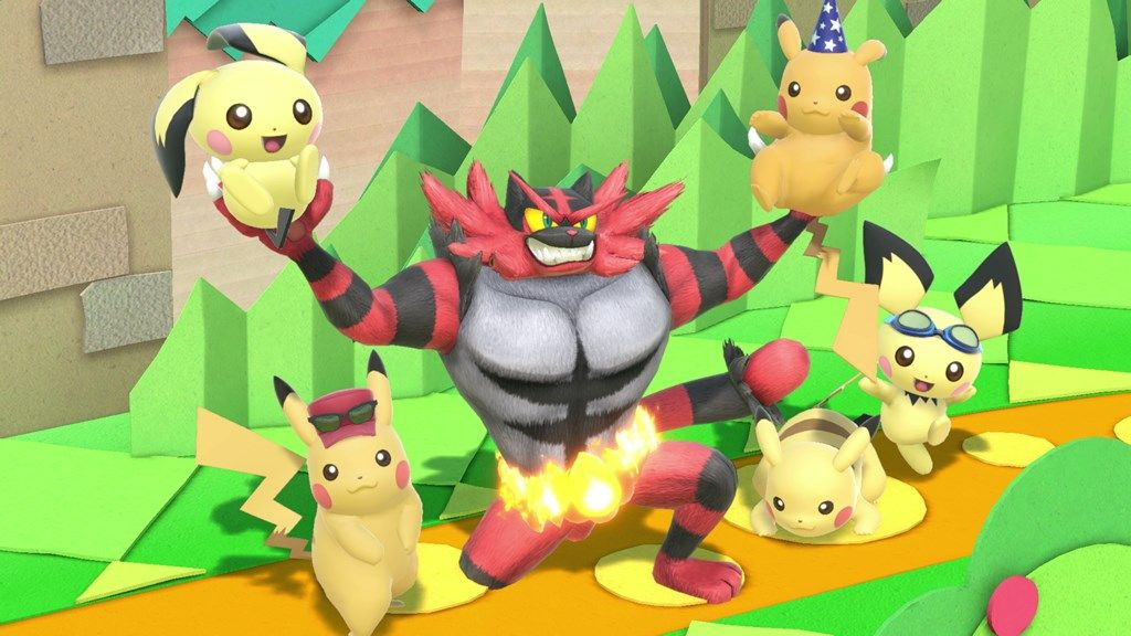 super smash bros ultimate incineroar pichu pikachu