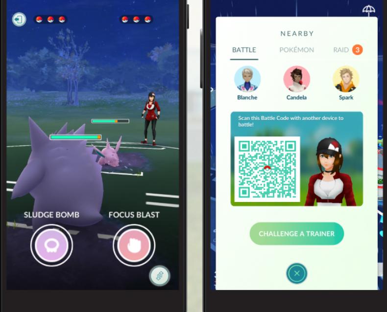 pokemon go trainer battle screen