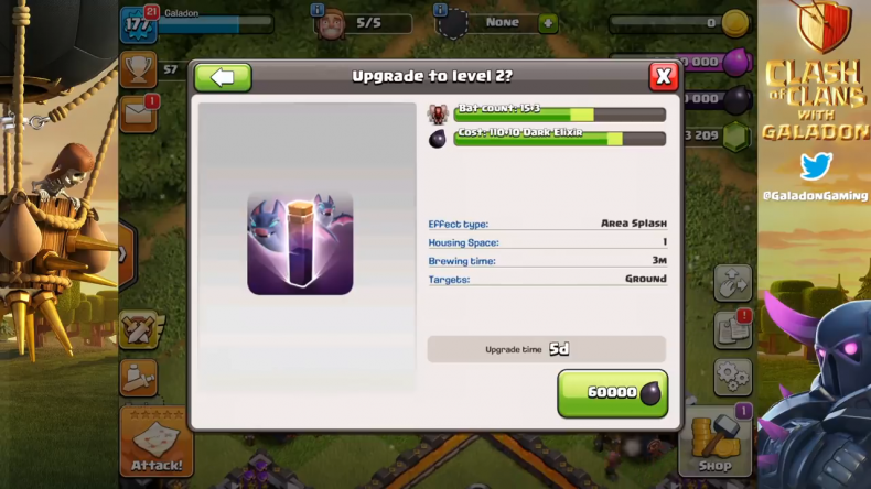 Clash of Clans bat spell stats