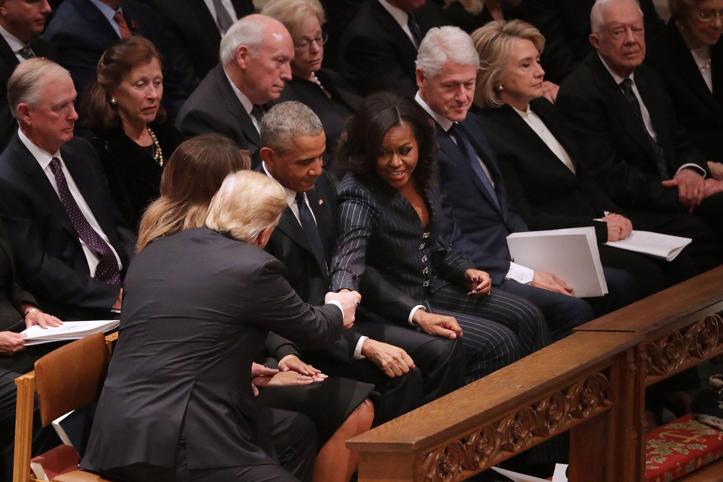 michelle obama, donald trump, handshake