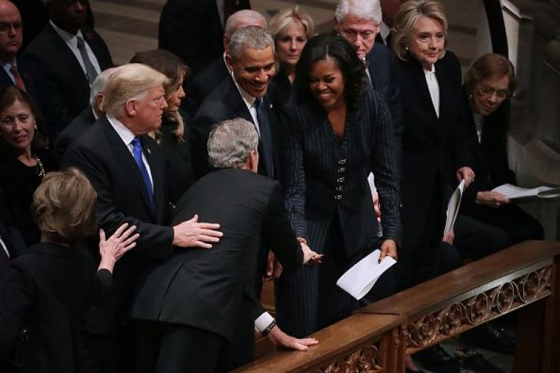 george w bush, michelle obama, candy, funeral