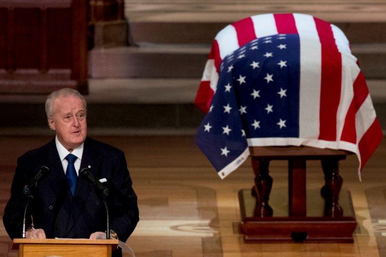 doanld turmp subtweet, george h.w. bush funeral, brian mulroney, canada
