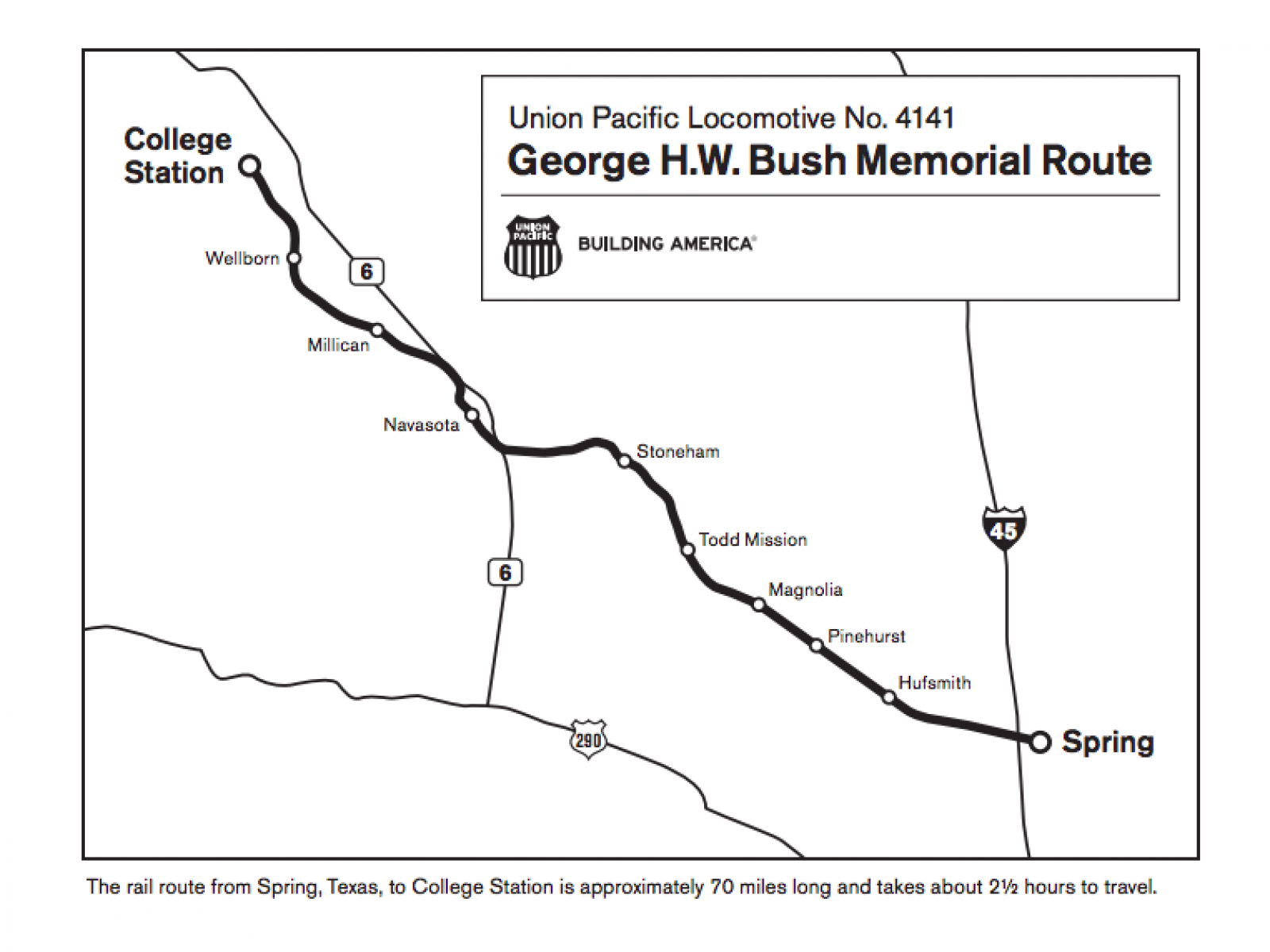 Map Of Texas College Station.George H W Bush Train Houston Funeral Route Map Time Plans To