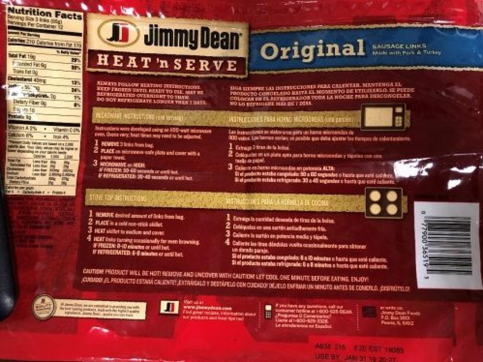 Jimmy Dean Sausage Recall: Heat 'N
