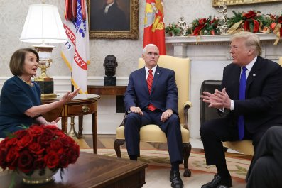 Nancy Pelosi Mike Pence Donald Trump Oval Office argument border security