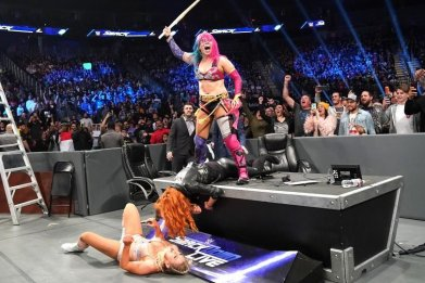 asuka takes down becky and charlotte smackdown wwe