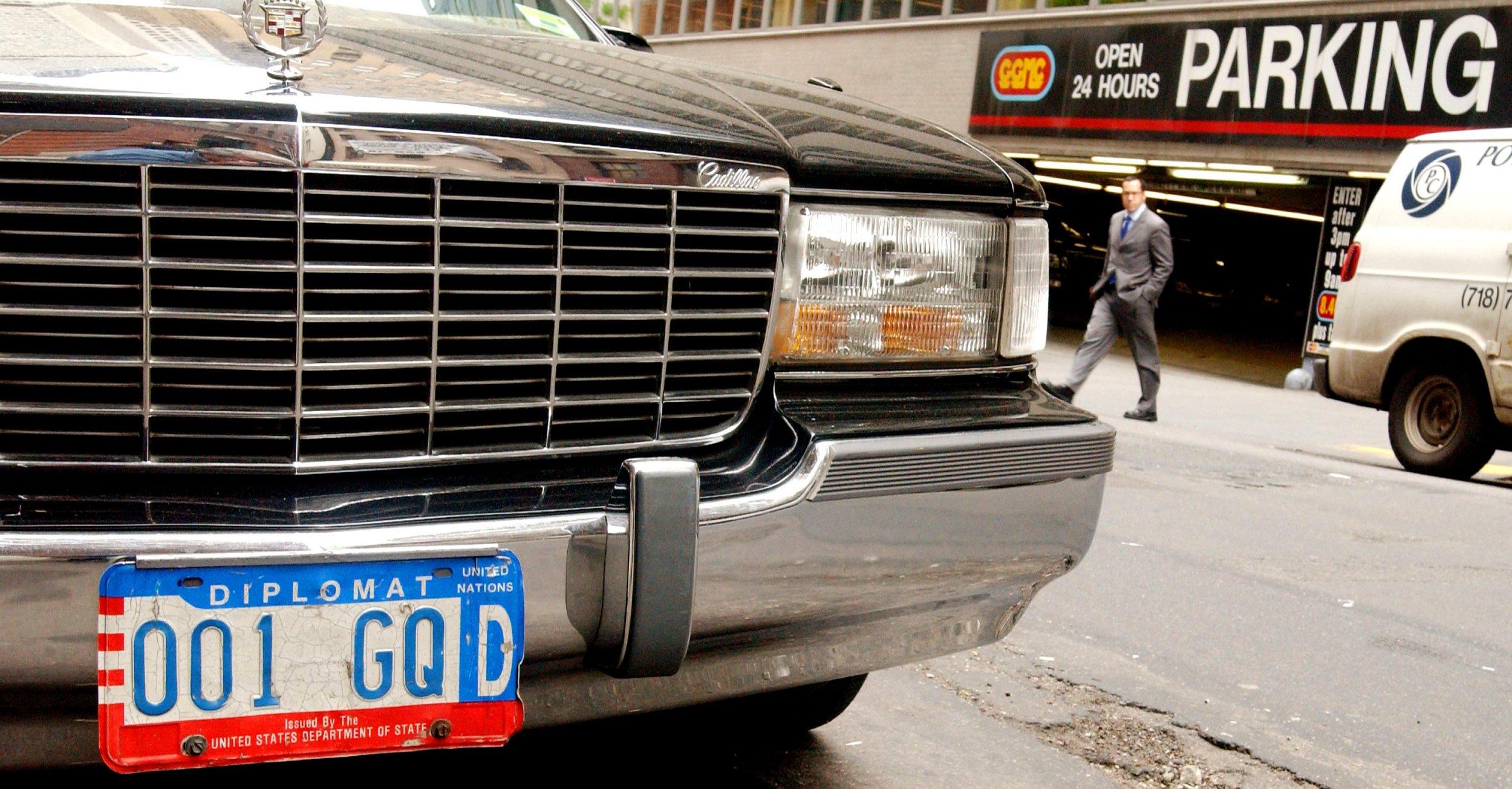 Diplomatic plates car New York City