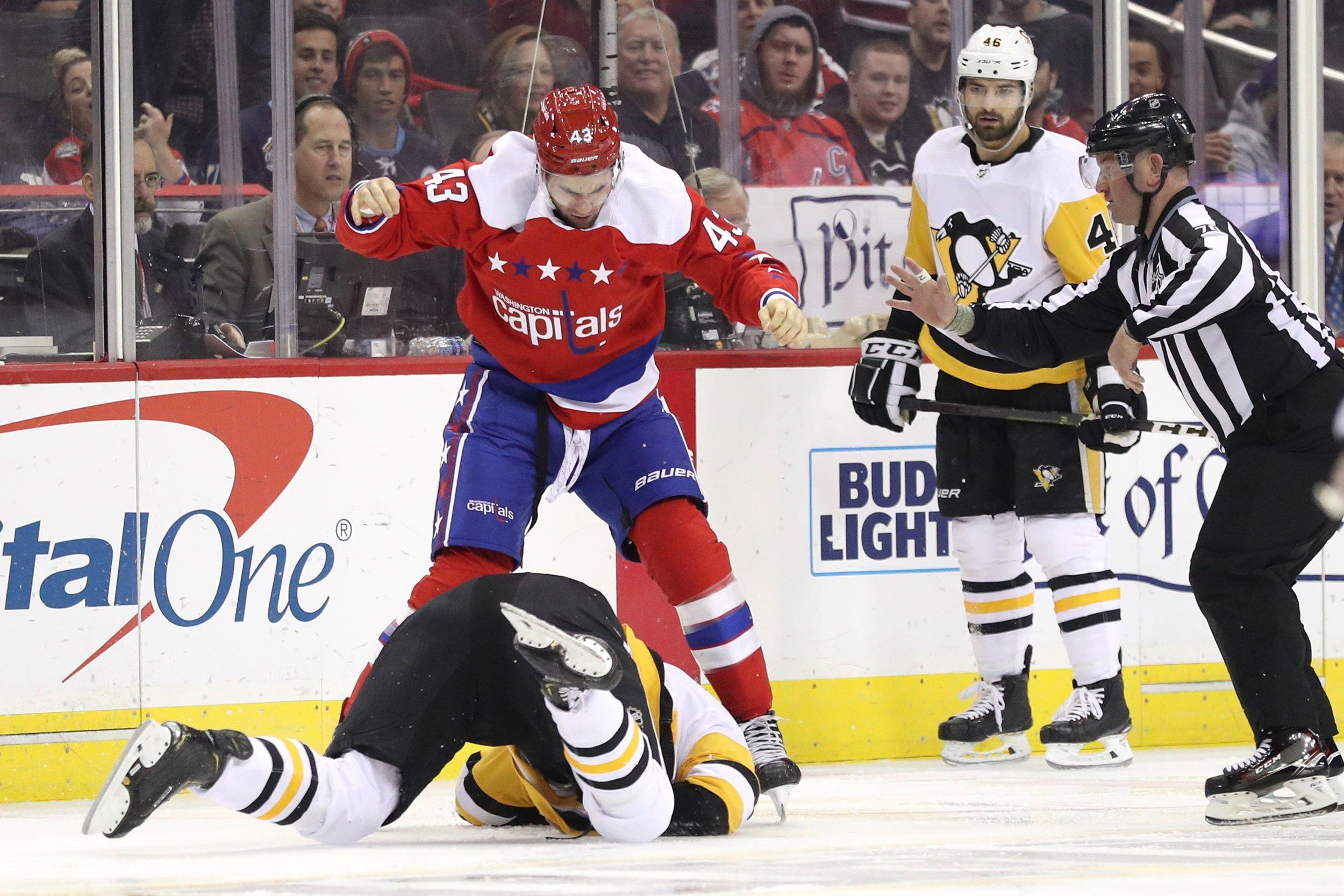 Tom Wilson,Washington Capitals, Jamie Oleksiak, Pittsburgh Penguins