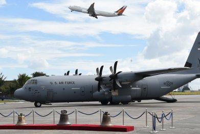 Air force plane sits at base
