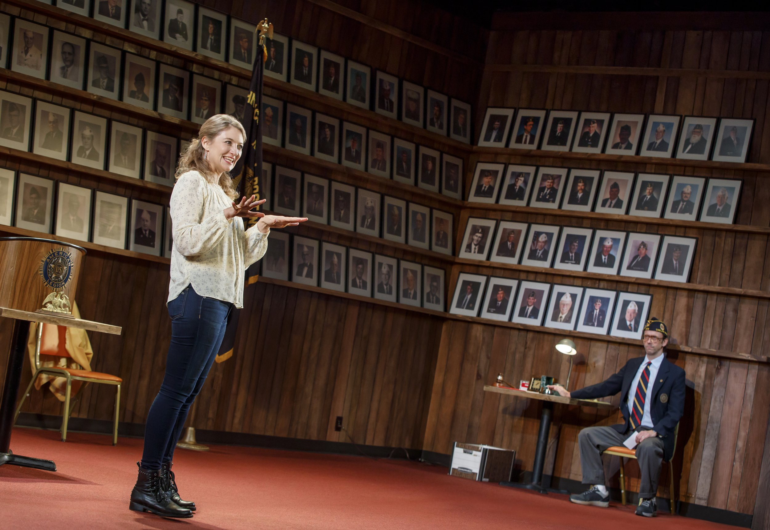 Heidi Schreck and Mike Iveson in WHAT THE CONSTITUTION MEANS TO ME at New York Theatre Workshop, Photo by Joan Marcus