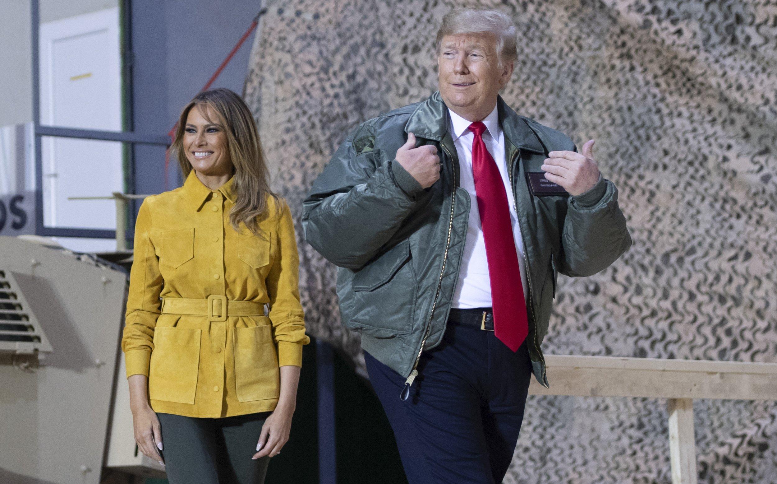 donald trump, iraq, visit, troops, morning