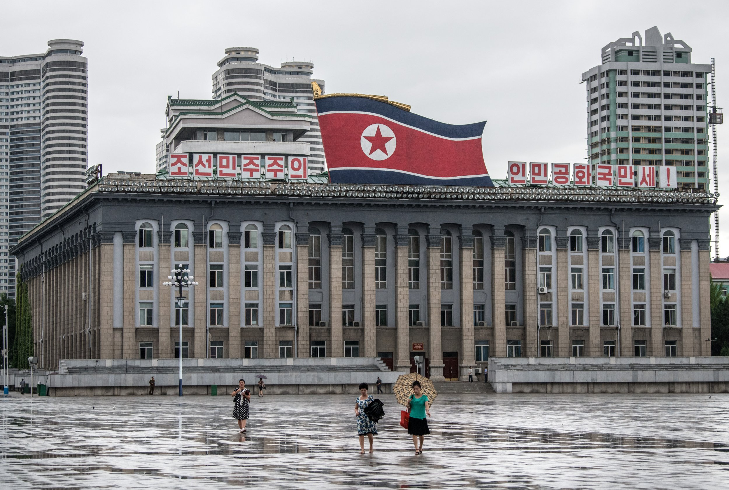 North Korea flag Pyongyang