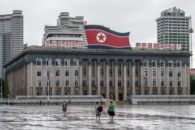 North Korea flag Pyongyang
