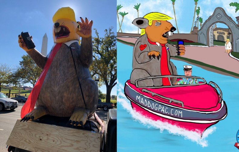 donald, trump, new, years, inflatable, rat