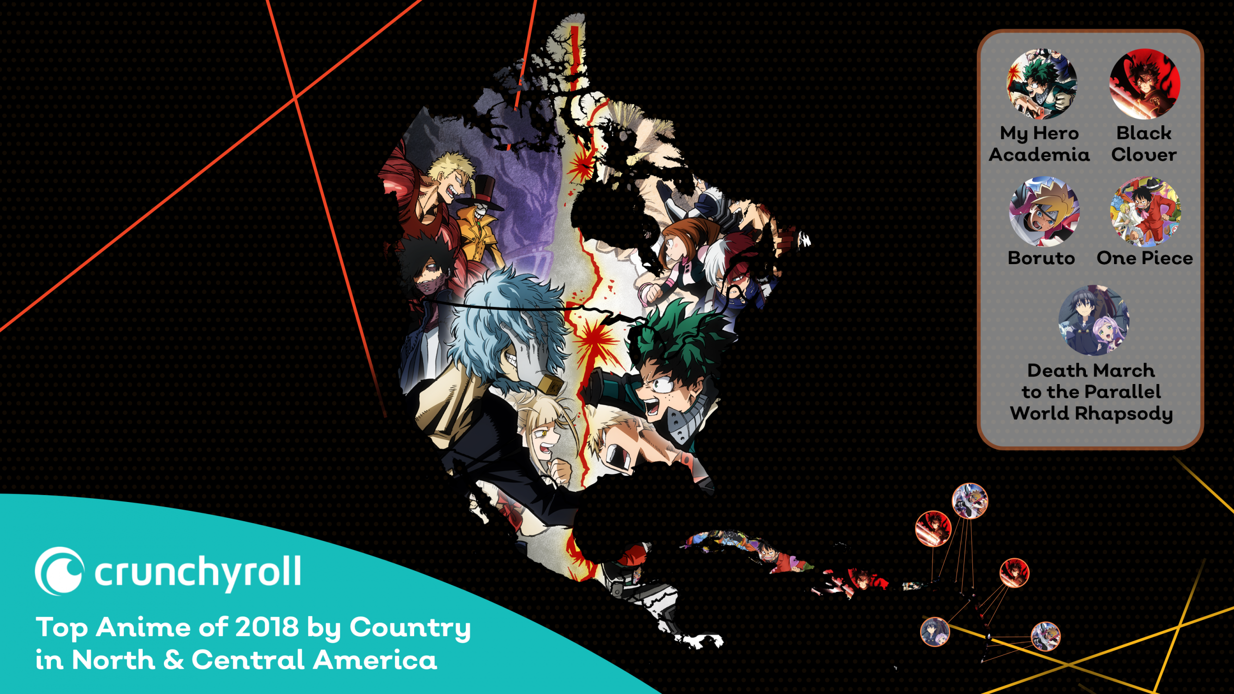 Crunchyroll's Most Watched Anime of 2018 by Country