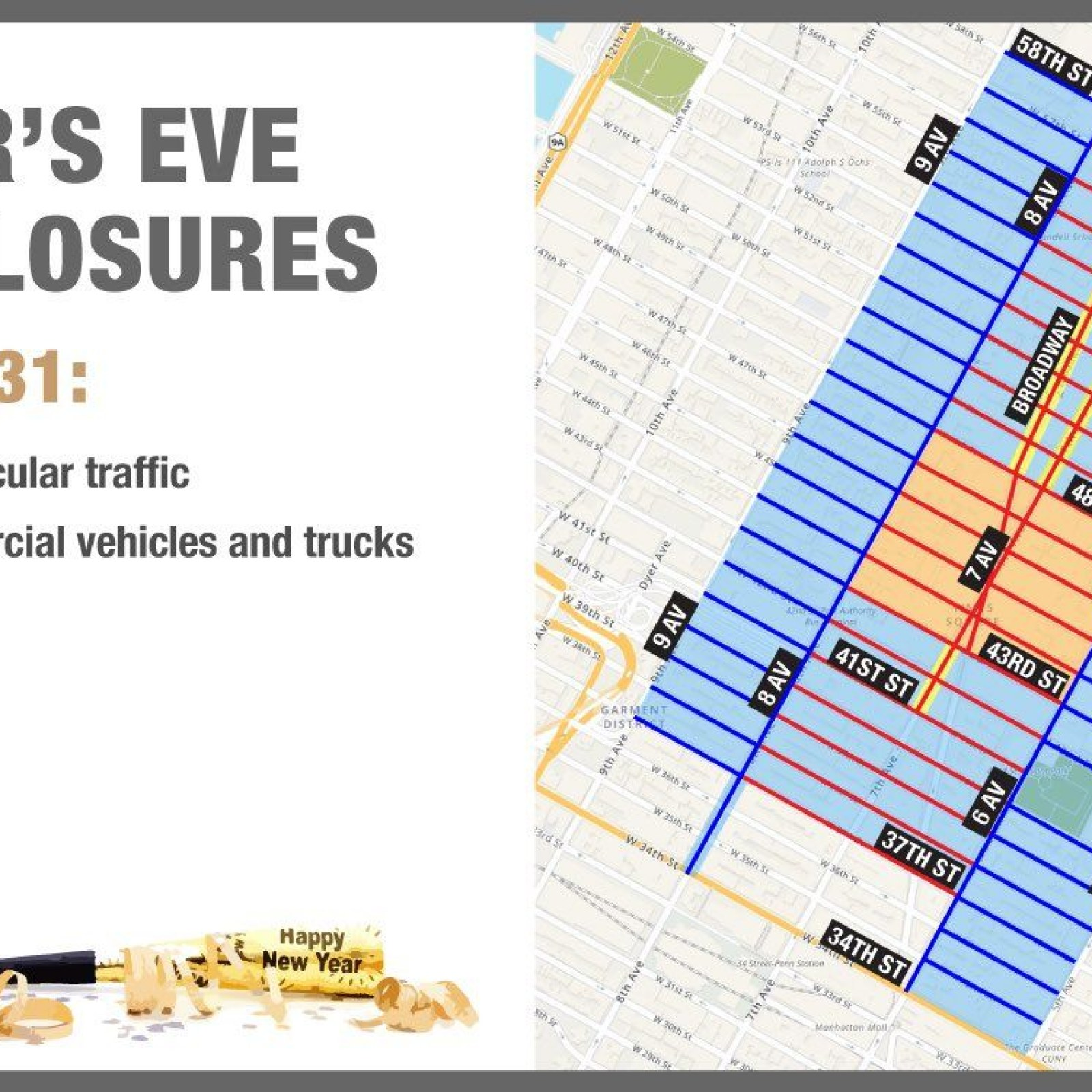 Subway Map From 88 St To 59th Street.New Year S Eve Times Square Nyc Map Road Closures Parking Information